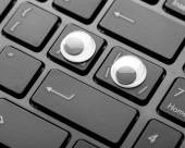 Closeup keyboard of a modern laptop — Stock Photo