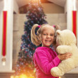 Girl  with toy bear — Stock Photo #58782719