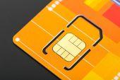 Yellow sim card — Stock Photo