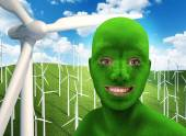Green human's face smiling on nature — Stock Photo