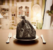 Garbage package instead of food — Stock Photo