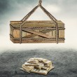 Box above a pile of money — Stock Photo #63889829
