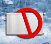 No heating at winter sign — Stock Photo