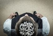 Man with bearing in his brain — Stock Photo