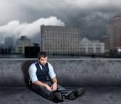 Depressed Man on the floor — Stock Photo