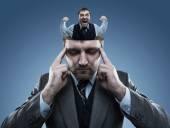 Man in the head of  businessman — Foto de Stock