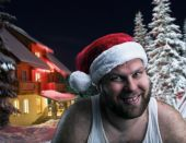 Smiling man in Santa Claus hat — Stockfoto