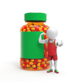 Person as sportsman with steroids pills — Stockfoto