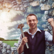 Happy businessman with hammer — Stock Photo #70263549