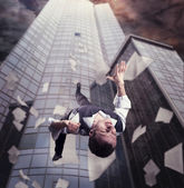 Businessman falling down — Stock Photo