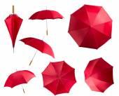 Red umbrellas set — Stock Photo