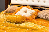 Fluffy pillows on the bed — Stock Photo
