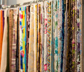 Different fabrics with patterns — Stock Photo