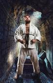 Ciddi karate avcı — Stok fotoğraf