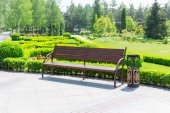 Bench in  park against meadow — Stock Photo