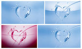A collage of three blue hearts made of water and a dark pink one on white. — Stock Photo
