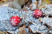 Christmas balls on dead leaves — Stock Photo
