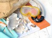 Scuba mask and seashells — Stock Photo