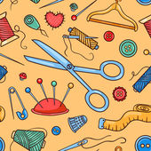 Seamless pattern with sewing tools — Stock Vector