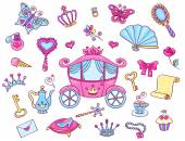 Cute princess set with carriage — Stock Vector