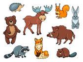 Orman hayvanları seti — Stok Vektör