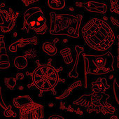 Pirate seamless pattern red on black — Wektor stockowy