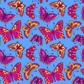 Seamless pattern with butterflies on blue — Vettoriale Stock