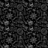 Pirate seamless pattern white on black — Stock Vector