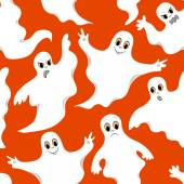 Seamless orange pattern with cute ghosts  — Stock Vector