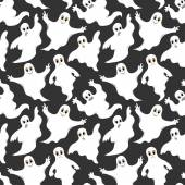 Seamless gray pattern with cute ghosts — Stock Vector
