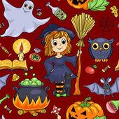Cute cartoon Halloween seamless pattern red — Stock Vector