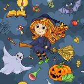 Cute cartoon Halloween seamless pattern with witch — Stock Vector