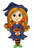 Cute little witch with candies — Stock Vector