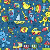 Söta handritade vektor seamless mönster med leksaker blå — Stockvektor