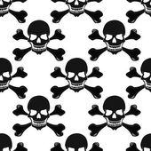 Cartoon black and white skulls seamless pattern — Stock Vector