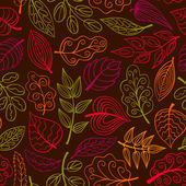 Hand-drawn dark seamless pattern with leaves  — Stock Vector