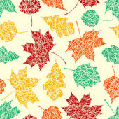 Autumn leaves with sketches lines — Stock Vector