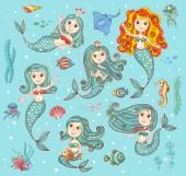 Cute vector set with mermaids — Stock Vector