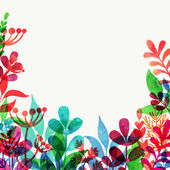 Vector background with watercolor leaves — Stock Vector