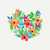 Vector watercolor leaves and flowers — Stock Vector