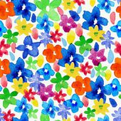 Watercolor vector pattern with flowers — Stock Vector