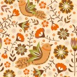 Seamless with flowers and birds. — Stock Vector #56559119