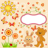 Kid background with butterfly. — Stock Vector