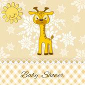 Baby Shower card with giraffe. — Stock Vector