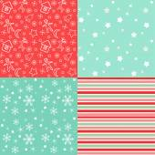 Collection for scrapbook. Red-green seamless and borders — Wektor stockowy