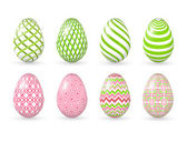 Ovos de páscoa no fundo branco. — Vetor de Stock