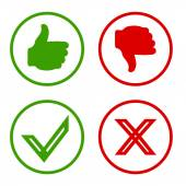 Yes, No, Thumbs up and down icons Like and unlike symbol. — Stock Vector