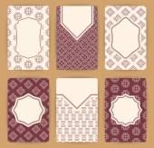 Συλλογή των προτύπων κάρτα διάνυσμα με γεωμετρικά στολίδι. — Διανυσματικό Αρχείο