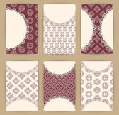 Collection of vector card templates with geometric ornament. — Stockvektor