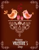 Two cute birds. Card for Valentine day. — Stock Vector